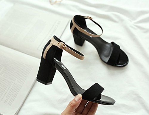 Sandals ZCJB Summer Word Buckle Coarse Heel Female Black Career High Heels Wild Open-toed Shoes (Color : Black, Size : 36) Black