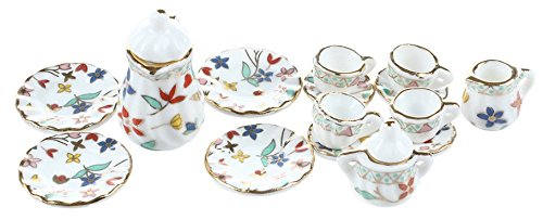 Dollhouse Miniature dinnerware porcelain tea set tableware Cup plate Colorful floral print Toy best gift 15 Pcst