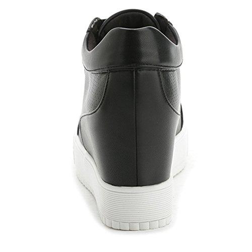 Womens Casual Wedge Platform Sneakers Lace Up Verborgen Hak Fashion Sportschoenen Zwart