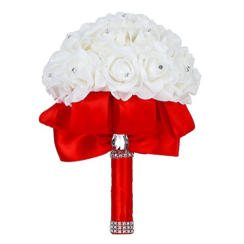 Febou Wedding Bouquet, Big Size Red Bridesmaid Bouquet Bridal Bouquet with Crystals Soft Ribbons, Artificial Rose Flowers for Wedding, Party and Church (Red Big Size) (Red Bridal Toss Bouquet)