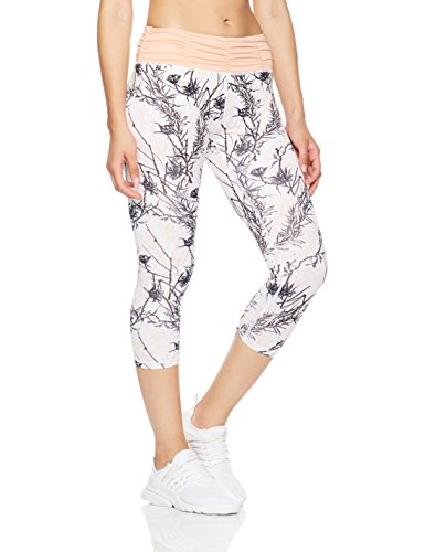 Mint Lilac Women's Printed Capri Leggings Workout Cropped Athletic Yoga Pants with Ruched Waistband Large Peach