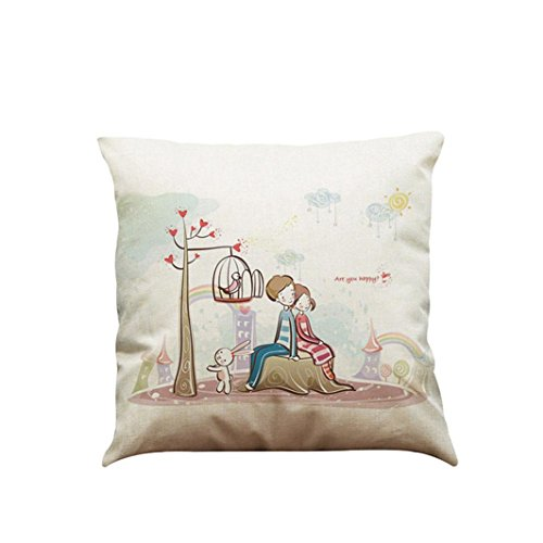 Winhurn Lovely Romantic Couples Pattern Cushion Cover Pillowcase for Sofa Bed Home Decor (Style E)