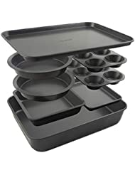 Elbee Home 8 Piece Baking Pan Set, Patented Space Saving Self Storage Design, Nonstick Carbon Steel Bakeware Set