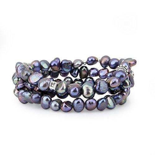 8mm Genuine Black Pearl Bracelet - Genuine Freshwater Cultured Pearl 7-8mm Stretch Bracelets with base beads (Set of 3) 7.5