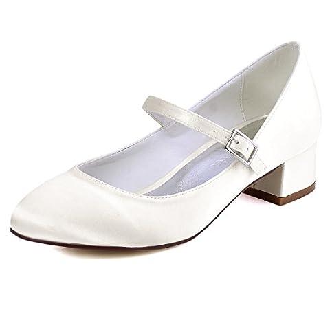 ElegantPark FC1614 Women Closed Toe Chunky Heel Mary Jane Pumps Satin Evening Wedding Dress Shoes Ivory US 12