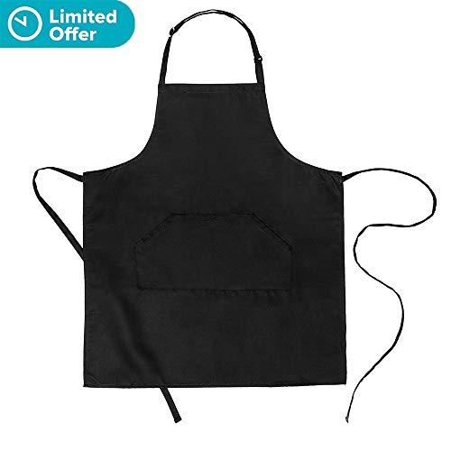 Bib Apron Adjustable - Aprons for Women Men with 2 Pockets 44.8 Long Waist Tie Black Cooking Kitchen Restaurant for Women Man Unisex Chef 32 x 28 by BOHARERS