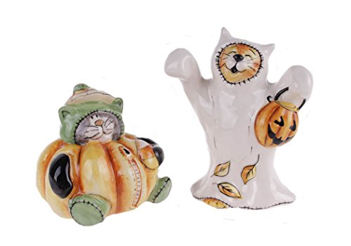 Blue Sky Ceramic Halloween Pumpkin Wizard Salt and Pepper Shaker Set, 5