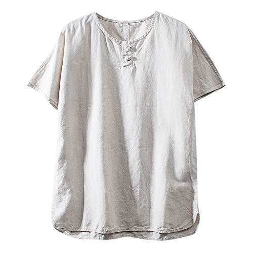 - TUSANG Men Tees Fashion Cotton Linen Solid Color Short Sleeve Retro T Shirts Tops Loose Comfy Tunic(I-Beige,US-6/CN-M)