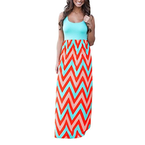 Maxi Cell - Goddessvan Women's Bohemian Zig Zag Scoop Neck Wave Striped Tank Maxi Long Dress (XL, Pink)