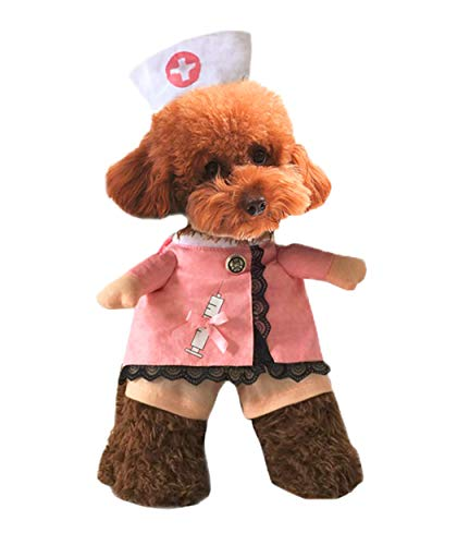 Xiaoyu Puppy Dog Cat Nurse Costume Halloween Cosplay Party Outfit Suit Costume for Small Dogs and Cat, S