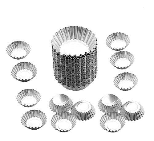 Egg Tart Mold Baking Cups Tins,50pcs Steel Mini Pie Pans Muffin Baking Cups Cupcake Cake Cookie Lined Mould Tin Baking Tool