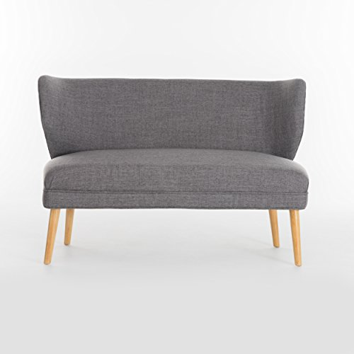 Christopher Knight Home 299388 Dumont Mid Century Modern Fabric Loveseat Sofa Settee (Light Grey)