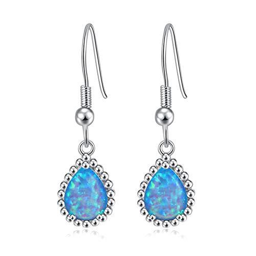 CiNily Opal Dangle Earrings, 18K White Gold Plated Drop Earrings for Women Teardrop Earrings with Simulated Blue Fire Opal Gemstone Dangle Earrings