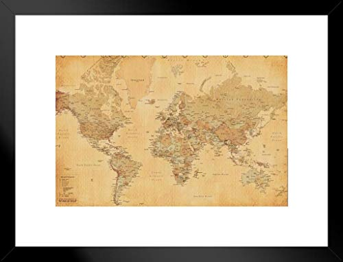 Pyramid America World Map Vintage Style Longitude Latitude Earth Atlas Matted Framed Poster 26x20 inch