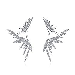 Angel Wing Earrings Studded With Zircons In Silver