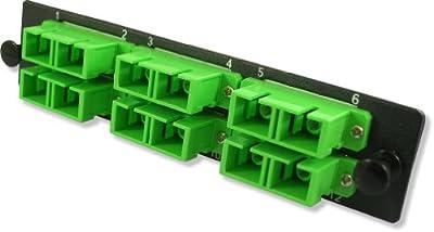 Lynn Electronics 12 Fiber SC APC Singlemode Adapter Strip, 6 Duplex SC APC Ports, LGX Footprint