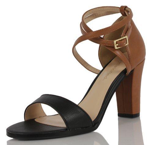 Cityclassified Womens Rako Color Block Wide Strap Criss Cross Ankle Strap Heels, black, 75 M US