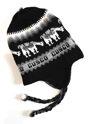 Hand-Knotted Chullo Winter Hat Black/Grey Color Reversible Alpaca Wool Blend with Earflaps Inca Culture Design. Rustic Unisex