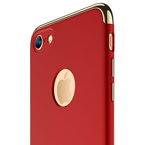Large Product Image of iPhone 7 Case, RANVOO Thin Hard Slim Fit Stylish Cover with 3 Detachable Parts Case for Apple iPhone 7 Only, CHROME GOLD and MATTE RED, [CLIP-ON Series]