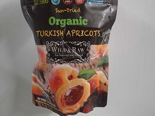 Wild & Raw Sun-dried Organic Turkish Apricots 5 Oz Good Source of Fiber Zero Trans Fat No Added Sugar Cholesterol Free Unsulphured (2 Pack)