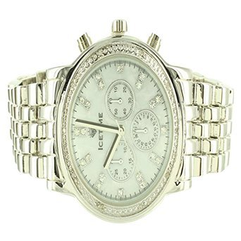 Marquis Icetime Joe Rodeo MOP Dial White Gold Finish Diamond Mens Steel Watch (Dial Mop Men)