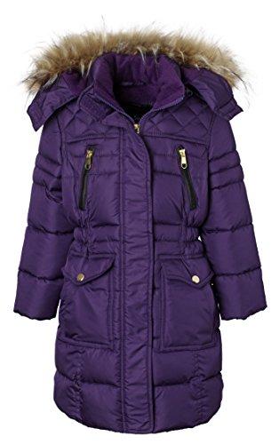 y Quilt Long Fleece Lined Padded Puffer Coat with Fleece Lined Detachable Hood - Purple 7/8 (Girls Long Winter Coat)