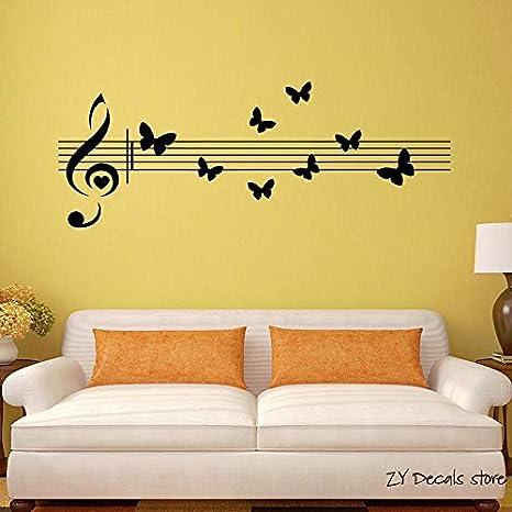 Ajcwhml Notas Musicales Calcomanías de Pared Mariposas Hermosas ...