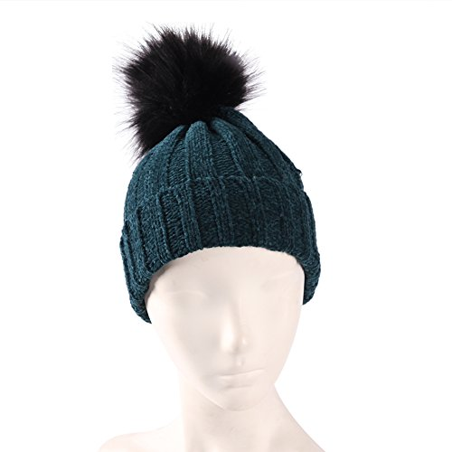 Color Inchoice Women Slouchy Pompoms Beanie Hat, Hand Knit Faux Fur Fashion Skull Cap(Dark Aquamarine) -