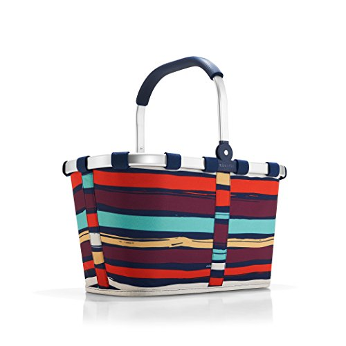 Stripe Market Tote - reisenthel Carrybag Fabric Picnic Tote, Sturdy Lightweight Basket for Shopping and Storage, Artist Stripes