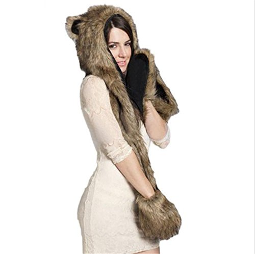 Women's 3-in-1 Winter Warm Mittens Gloves Scarf Faux Fur Hat Fluffy Plush Cap Hooded Shawl Glove Dint Wolf -