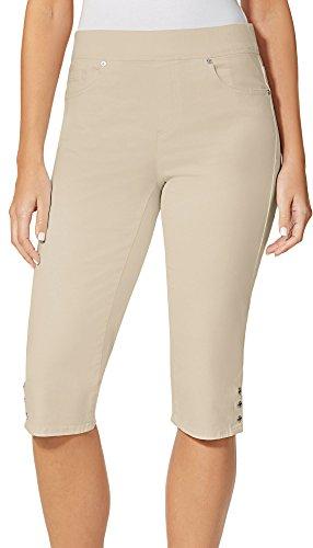 Gloria Vanderbilt Women's Avery Skimmer Short, Latte, (Capri Pull On Shorts)