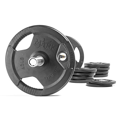 HUGE Savings With The XMark 28mm Grip Commercial Hard Chrome Olympic EZ Curl Bar With Black Manganese Phosphate Shaft AND XMark Premium Rubber Coated Olympic Plate Weights