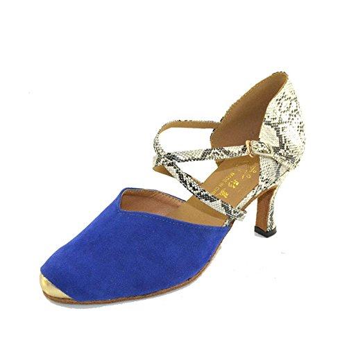 Zapatos De Baile Latino Hembra Adulta Con Zapatos De Tacón Blue