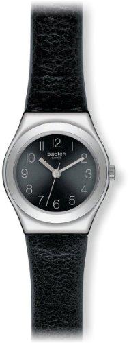 Amazon.com: Swatch Smoothly Black-Tone Dial SS Leather Quartz Ladies Watch YSS268: Swatch: Watches