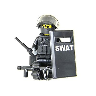 Battle Brick SWAT Police Officer Heavy Riot Control (SKU51) Custom Minifigure: Toys & Games