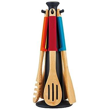 Joseph Joseph 6-Piece Multi-Bright Kitchen Utensil Set with Storage Carousel and Elevate, Multicolored