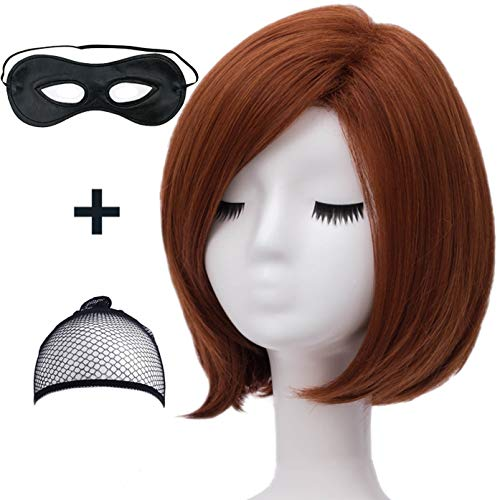 Mildiso Women's Short Dark Brown Wig Bob Straight Halloween Cosplay Wig Anime Costume Party Wig with Orange Headband and Eye Mask M064