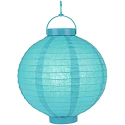 "Quasimoon PaperLanternStore.com 12""""Budget Friendly Battery Operated LED Lantern - Turquoise"