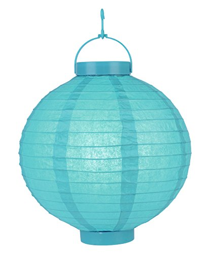 Quasimoon PaperLanternStore.com 14 Inch Turquoise 16 LED Round Paper Battery Lantern