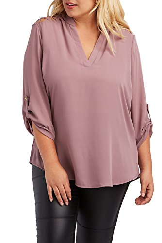 Nuovo donna Plus Dimensioni rosa aperto spalla camicetta abbigliamento casual taglia XL UK 14EU 42