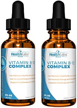 Extra-Strength, Fast-Acting Liquid B12 Drops – Naturally Boost Energy and Brain Function (Pack of 2)