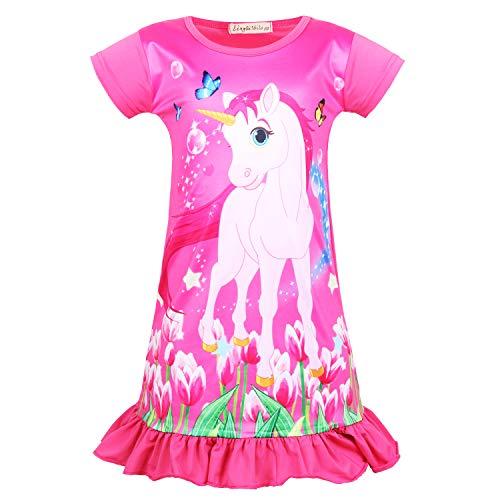 (Sylfairy Girls Nightgown, Kids Rainbow Unicorn Nightgowns Pajama Sleepwear Toddler Nightie Princess Night Dresses (Rose Red B+Unicorn, 8-9Years))
