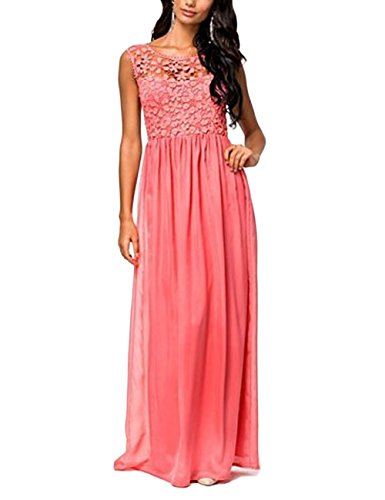 Women's Elegant Sleeveless Lace Evening Party Bridesmaid Long Maxi Dresses (Large, Red) (Can Can Outfit Fancy Dress)