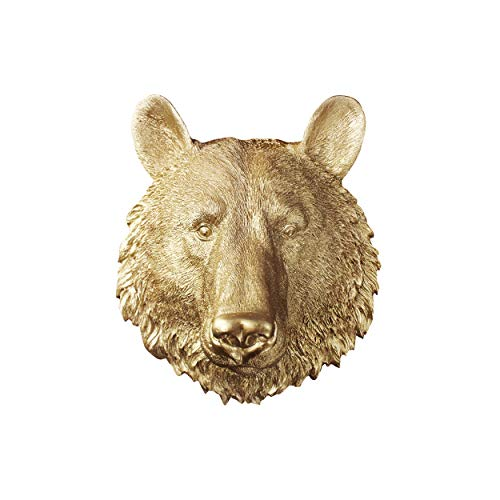 - WALL CHARMERS Mini Gold Faux Bear Head Wall Hanging - 10