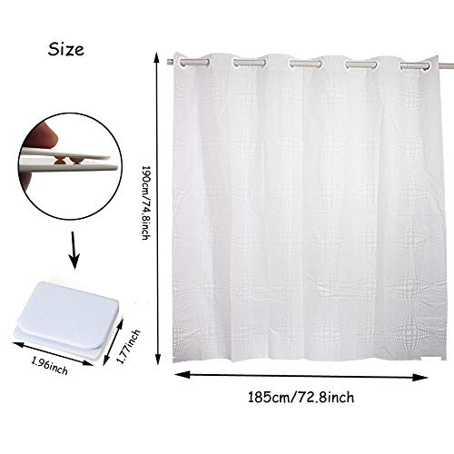 Shower Curtain Hookless, Water Repellent Shower Curtain Liner Mildew Resistant Washable PEVA Shower Stall Curtain with Shower Curtain Splash Clips for Bathroom Hotel Spa 72x74 inch by Goodears (Image #6)