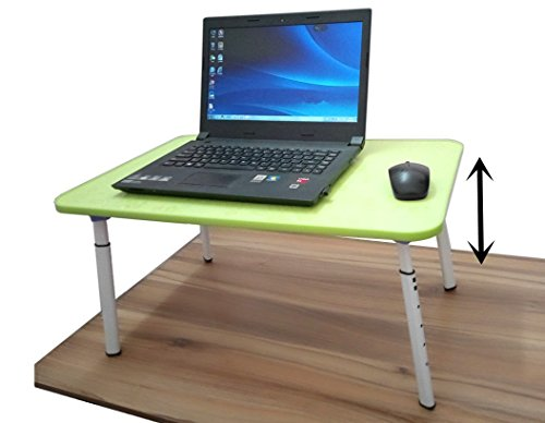 Portable Laptop Desk Adjustable Computer Table Stand Ergonomic Writing Desk Book Holder Premium Breakfast Tray for Bed Couch Sofa or Travel Use (green)