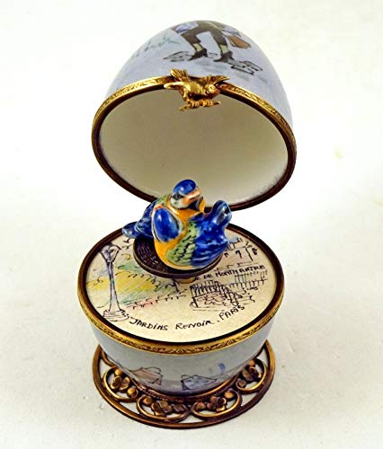 (Authentic French Porcelain Hand Painted Limoges Box Shopping in Paris Musical Egg with Love Birds Key)