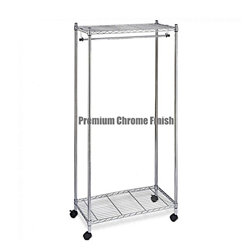 Premium Chrome Finish Garment Rack 2-Tier Shelving Wire Rolling Organizer Dress Clothing Laundry Steel Shelf - Chrome Store Bangalore