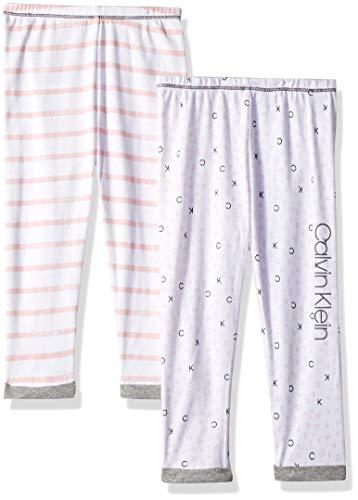 Calvin Klein Baby Girls 2 PK Pants- Ck Stripe Pink/Alphabet Pink, 12-18 Months