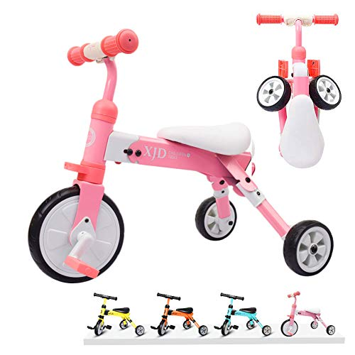 XJD 2 in 1 Kids Glide Tricycles Toddler Tricycle Baby Balance Bike Trike for 2 Years Old and Up Boys Girls Gift Kids Bike Trike Kids Tricycle 2-4 Years Old (Pink)